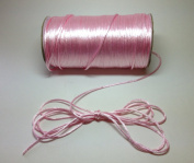 "100 Yards - 2mm(1/16"") Pink Satin Rattail Cord Chinese/china Knot Rat Tail Jewellery Braid 100% Polyester"