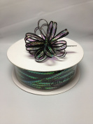 0.3cm 50 Yards Black Organza Iridescent Centre with String Pull Ribbon Bow