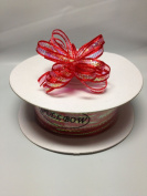 0.3cm 50 Yards Red Organza Iridescent Centre with String Pull Ribbon Bow