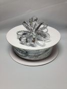 0.3cm 50 Yards Metallic Silver Organza Iridescent Centre with String Pull Ribbon Bow
