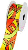 LUV Ribbons Satin Groovy Retro Print Ribbon, 3.8cm , Orange/Yellow