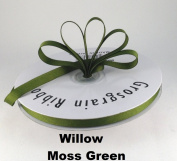 1cm Moss Green/Willow Grosgrain Ribbon 50 Yards Solid Colour.