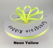 1cm Neon Yellow Grosgrain Ribbon 50 Yards Solid Colour.