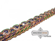 . Golden Trim Indian Sari Border Craft Lace Thread Work Decorative Sewing Appeal Ribbon 1 Yard Fabric