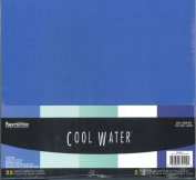 "30cm X 30cm Cardstock Paper ""Cool Waters"" Pack of 25 Sheets"