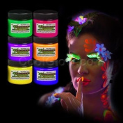 6ct Glominex Glow in the Dark Face and Body Paint 30ml Jars - Assorted Colours
