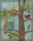 Fantasy Owls Vertical Ii Animal Trendy Classic Bird Owl Popular Classy Tree Decorative Picture 11X14