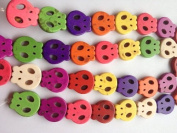 DUMAN Dyed Stone Carved Flat Skull Beads Dark Colour Mix 21x20mm - 15.5 Inch Strand