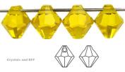6mm Citrine, Czech Machine Cut Top Drilled Bicone Pendant (6301 Shape), 12 pieces