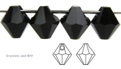 6mm Jet black, Czech Machine Cut Top Drilled Bicone Pendant (6301 Shape), 12 pieces