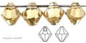 6mm Light Colorado Topaz, Czech Machine Cut Top Drilled Bicone Pendant (6301 Shape), 12 pieces