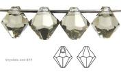 6mm Black Diamond colour, Czech Machine Cut Top Drilled Bicone Pendant (6301 Shape), 12 pieces