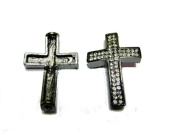 Sideways Pave Cross Rhinestone Gunmetal 2pc 26mmx40mm