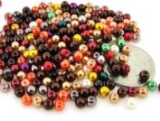 200pcs Mix Lustre Glass Pearls Round 4mm - Fall Mix