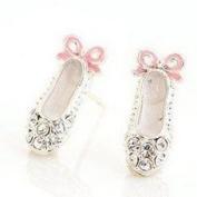 1 PAIR OF Rhinestone Ballet Shoe Earring Studs