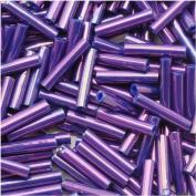 Toho Bugle Tube Beads Size #3 2x9mm Higher Metallic Grape 10 Grammes
