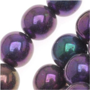 Czech Glass Druk Round Beads 8mm Purple Iris