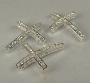 Rhinestone Cross Pave Silver W/crystal 3 Each 25mmx35mm