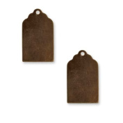 Vintaj Natural Brass Altered Blank Stamping Luggage Tag Pendants 21x13mm