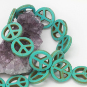 Howlite Turquoise Loose Beads Peace Sign Spacer 25mm Turquoise Green