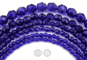 Choose a Size, Cobalt Blue, Czech Fire Polished Round Faceted Glass Beads, 41cm strand