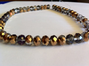 Chinese Crystal Glass Beads Faceted Rondelle, 8mm Clear with Metallic Gold AB, sold per 12-inch strand.