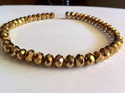 Chinese Crystal Glass Beads Faceted Rondelle, 8mm Metallic Gold, sold per 12-inch strand.