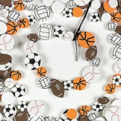 100 Sports Foam Beads - Footballs, Baseballs, Basketballs, Soccer