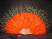 Marabou Feather Fan w/ Peacock - ORANGE 60cm x 36cm