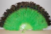 Marabou Feather Fan w/ Peacock - LIME GREEN 60cm x 36cm