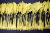 25cm Strip BURNT COQUE Feather Fringe - LIGHT YELLOW