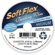 Soft Flex, 49 Strand Medium Beading Wire .48cm Thick, 9.1m, Black