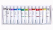 New Stained Glass Paint 12 colour tubes set / 7.5ml Glass Painting kit