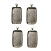 2.5cm - 1.3cm X 1.9cm Rectangle Silver Plated Deep Pendant Plates - 4 Pack