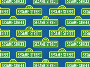110cm Wide SESAME STREET Logo Blue Cotton Fabric BY THE HALF YARD