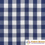 Blue & White 2.5cm Chequered Gingham Polyester Fabric, 150cm Wide By the Yard