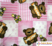 Teddy Bears on Pink Anti Pill Plaid Fleece Fabric, 150cm Wide and Sold By the Yard