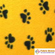 Yellow Heart Paws Anti Pill Fleece Fabric, 150cm Wide and Sold By the Yard