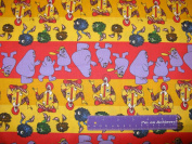 110cm Wide McDonalds Character Stripe Cotton Fabric BY THE HALF YARD