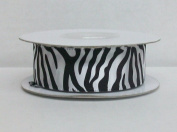White Zebra Print Satin Ribbon 2.2cm Wide