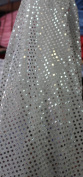 SMALL DOT CONFETTI SEQUIN FABRIC 110cm WIDE SOLD BY THE YARD WHITE/SILVER