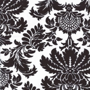 Taffeta Fabric Flocked Damask By The Yard - 150cm Wide - Black and White