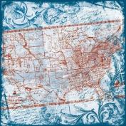 Heartfelt Travel Map Fabric Paper | TPC Studio