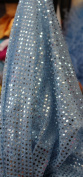 SMALL DOT CONFETTI SEQUIN FABRIC 110cm WIDE SOLD BY THE YARD BABY BLUE