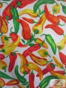 PEPPER/VEGETABLE PRINT POLYCOTTON FABRIC - WHITE - 150cm WIDTH - ONLY $3.95/YARD SOLD BTY