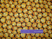 110cm Wide Jack-O-Lanterns Carved Cotton Fabric BY THE HALF YARD