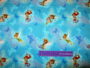 110cm Wide TINKERBELL Friends Blue Cotton Fabric BY THE HALF YARD