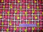 110cm Wide TWEETY Plaid Pink FLANNEL Fabric BY THE HALF YARD