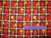 110cm Wide TWEETY Plaid Red FLANNEL Fabric BY THE HALF YARD