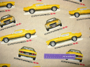 110cm Wide General Motors CAMARO SS Cotton Fabric BY THE HALF YARD
